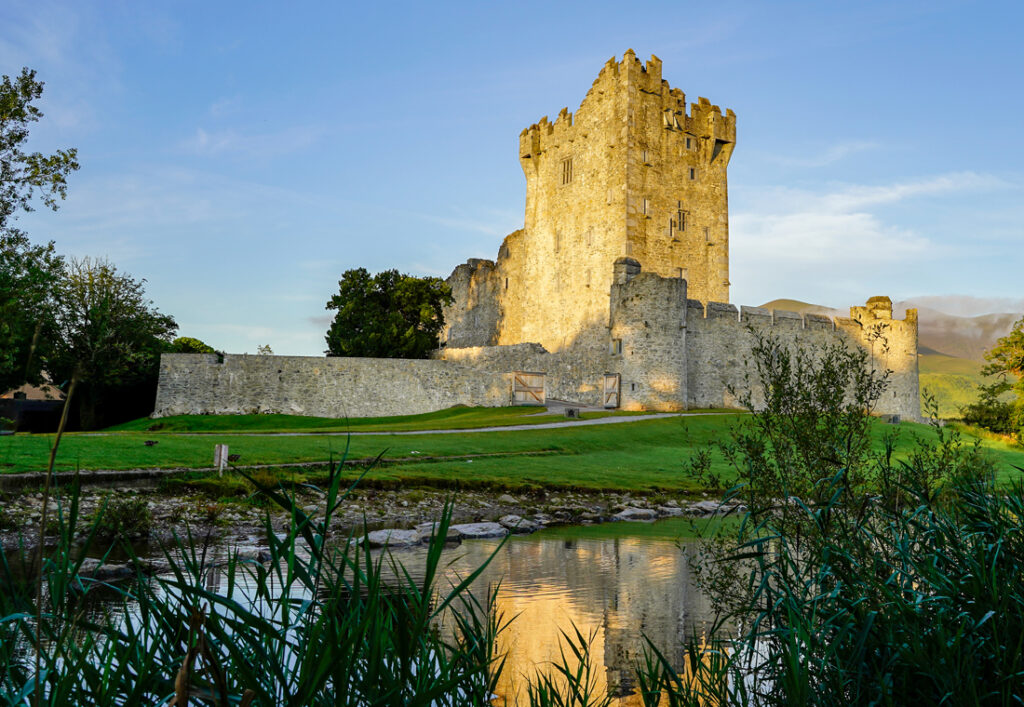 Ross Castle is a 15th-century tower house and keep on the edge of Lough Leane, in Killarney National Park, County Kerry, Ireland.